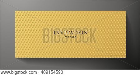 Premium Vip Invitation Template With Abstract Gold Triangle Pattern (carbon Texture) On Background.