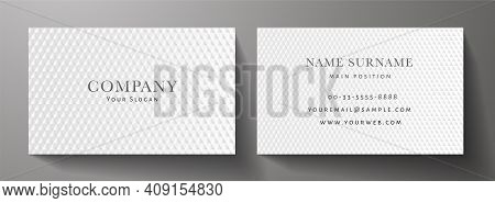 Business Card With Luxury Abstract White Triangle Pattern (carbon Texture). Formal Premium Backgroun