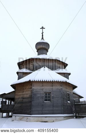 View Of Trinity Wooden Church Covered With Snow In Sviyazhsk