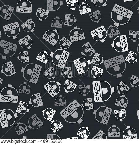 Grey Brick Stove Icon Isolated Seamless Pattern On Black Background. Brick Fireplace, Masonry Stove,