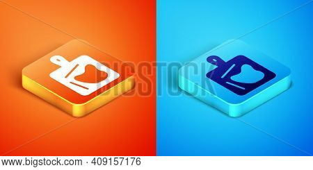 Isometric Cutting Board Icon Isolated On Orange And Blue Background. Chopping Board Symbol. Vector