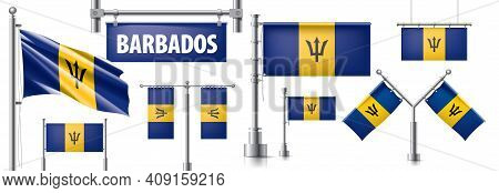 Vector Set Of The National Flag Of Barbados In Various Creative Designs