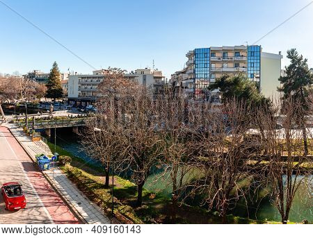 Trikala, Greece - February 6 2021: High Angle View Of The Centre Of The City, With People Enjoying A