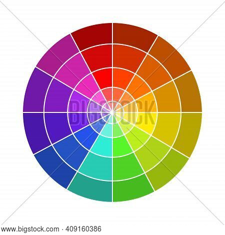 Vector Illustration Of The Color Wheel. Colour Theory Basics. Twelve-part Color Circle For Designers