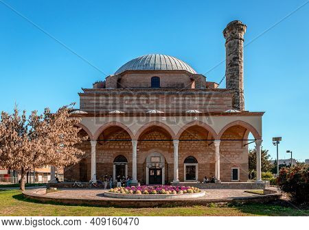Trikala / Greece - February 6 2021: Front View Of The Osman Shah Mosque (or Kursum Mosque). It Was B