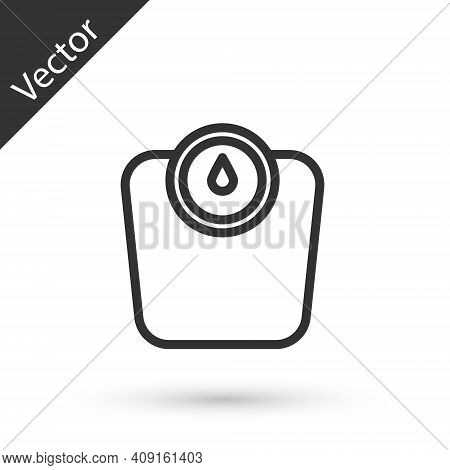 Grey Line Bathroom Scales Icon Isolated On White Background. Weight Measure Equipment. Weight Scale