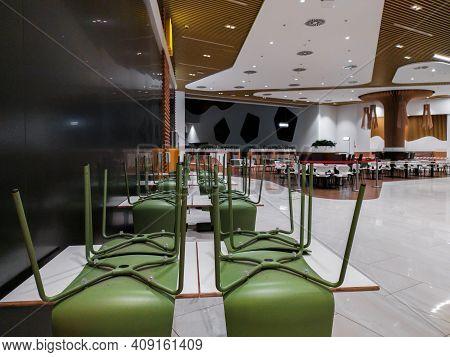 Dnepr, Ukraine- November 22, 2020: Interior Of Closed Mcdonalds Restaurant Because Of Covid-19 Pande