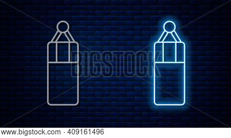 Glowing Neon Line Punching Bag Icon Isolated On Brick Wall Background. Vector