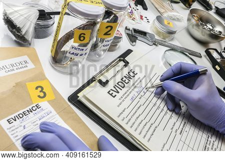 Specialized Criminalistic Police Work In Laboratory Collecting Data And Evidence Of A Murder, Concep