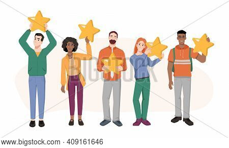 Feedback Concept, Man And Woman Holding Five Stars In Hands Isolated Flat Cartoon Characters. Custom