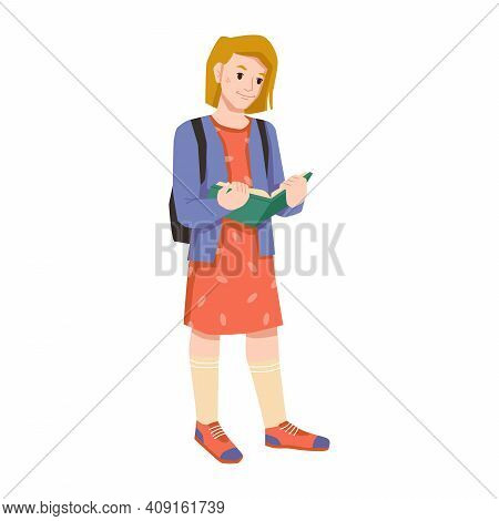 Elementary Or Primary School Pupil With Open Book And Backpack Isolated Flat Cartoon Character. Youn