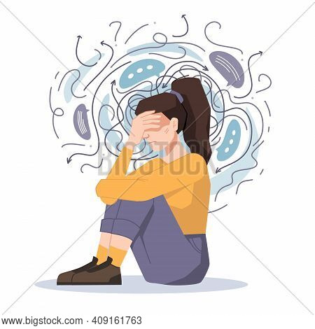 Anxiety, Woman Fears And Phobias, Thoughts Get Confused And Crushed Isolated Girl Sitting On Floor W