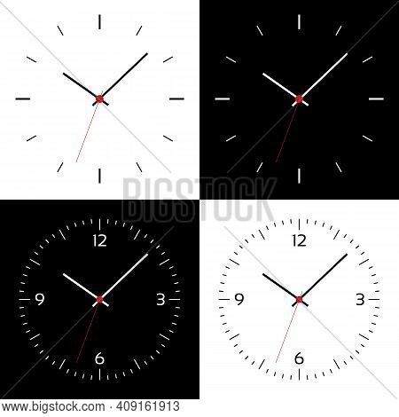 Flat Design Illustration Of Clock Face Or Wristwatch With Black And White Dial, Numbers, Hands And R