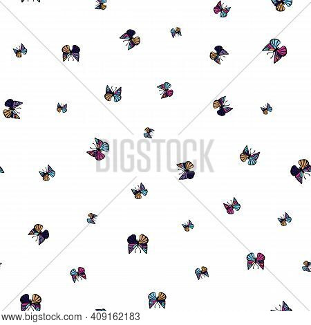 Small Colorful Butterflies Seamless Vector Pattern. Girly Surface Print Design For Fabrics, Statione