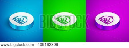 Isometric Line Brick Stove Icon Isolated On Blue, Green And Purple Background. Brick Fireplace, Maso