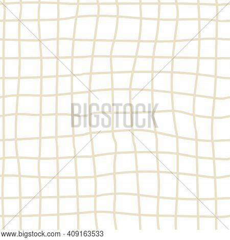 Doodle Cage Seamless Pattern. Hand Drawn Beige Lines, Decor Textile, Geometrical Ornament. Abstact S