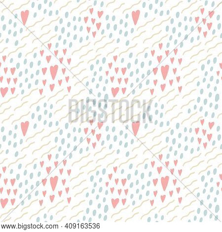 Doodle Dots Lines And Hearts Seamless Pattern. Hand Drawn Decor Textile, Cute Ornament, Abstact Simp