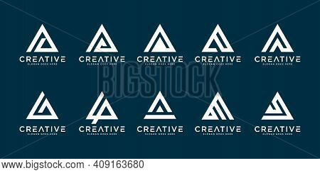 Set Of Initial Letter A Logo Vector Mono Line