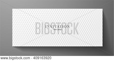 Premium Vip Invitation Template With Abstract White Triangle Pattern (carbon Texture) On Background.