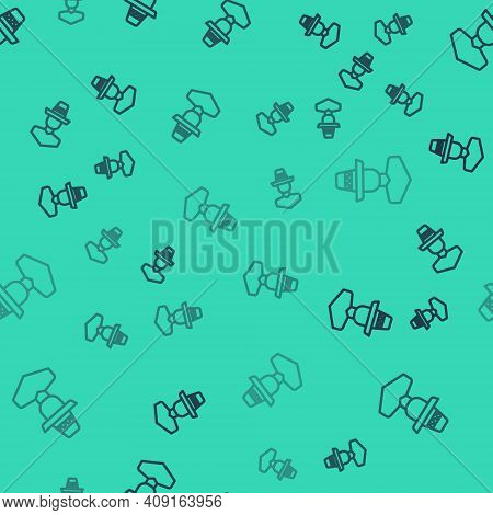 Black Line Mexican Man Wearing Sombrero Icon Isolated Seamless Pattern On Green Background. Hispanic