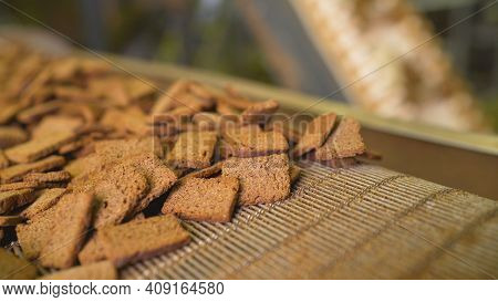 Delicious Rusks In A Pile. Bread Rusks At The Factory.