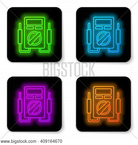 Glowing Neon Line Ampere Meter, Multimeter, Voltmeter Icon Isolated On White Background. Instruments