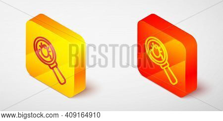 Isometric Line System Bug Concept Icon Isolated On Grey Background. Code Bug Concept. Bug In The Sys