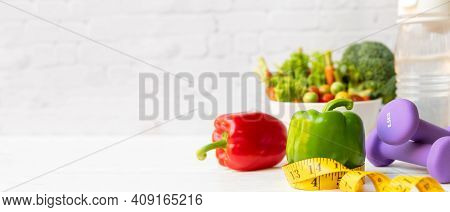 Diet Health Food And Lifestyle Health Concept. Sport Exercise Equipment Workoutandgym Background W