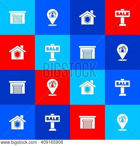 Set Garage, Location With House, House Shield And Hanging Sign Sale Icon. Vector