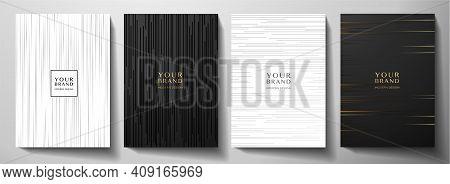 Modern Black And White Cover Design Set. Luxury Creative Dynamic Diagonal Line Pattern. Formal Premi
