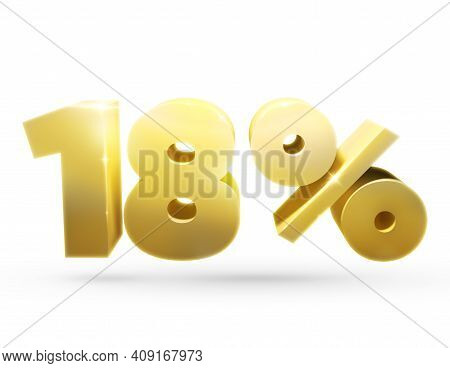 3d Number. Isolated 3d Illustration Of The Number 18 And Percent. Isolated   Golden Number 18 And Pe