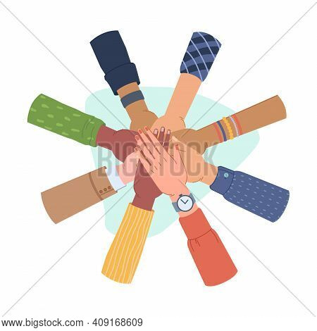 Hands Gesture Togetherness And Unity, Ethnic Diversity. Vector Diverse Group Of People Putting Toget
