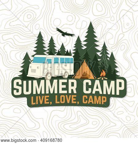 Summer Camp. Live, Love Camp Patch Vector Illustration
