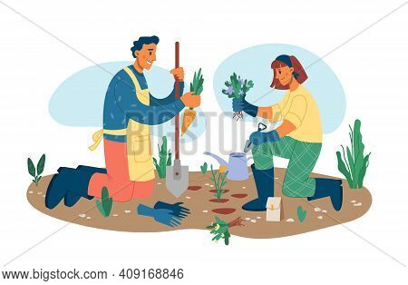 Man And Woman Gardening Plants Outside Isolated Flat Cartoon Characters. Vector People Growing Carro