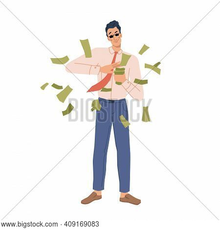 Businessman With Money Flat Cartoon Character. Vector Rich Person Throwing Dollar Banknotes, Happy R
