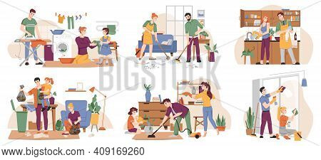 People Clean Home, Family Tidy Up Flat, Cartoon Characters. Vector Set Of People Doing Laundry, Iron