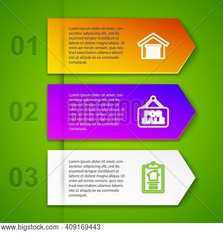 Set Line Garage, Hanging Sign With For Sale And House Contract. Business Infographic Template. Vecto