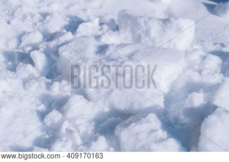 Snowdrift As Texture Background. Copy, Empty Space For Text