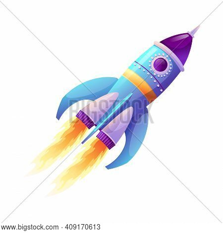 Rocket Launch And Fire Flame, Spaceship Startup Isolated Spacecraft Liftoff Cartoon Icon. Vector Boo