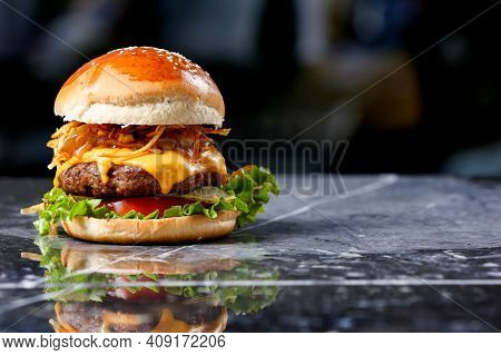 Fresh Tasty Burger. Burger With Beef, Cheese, Bacon And Vegetables. Burger With Salad, Cheese, Onion