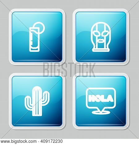 Set Line Tequila Glass With Lemon, Mexican Wrestler, Cactus And Hola Icon. Vector