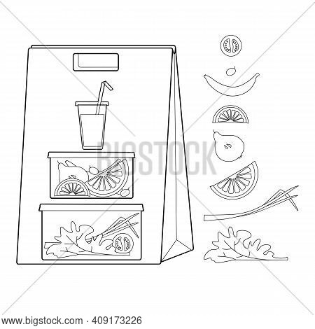 Craft Bag With A Business Lunch. Vegetarian Food. Fruits And Vegetables In Containers. Line Drawing.