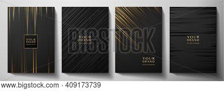 Modern Black Stripe Cover Design Set. Luxury Creative Gold Dynamic Diagonal Line Pattern. Formal Pre