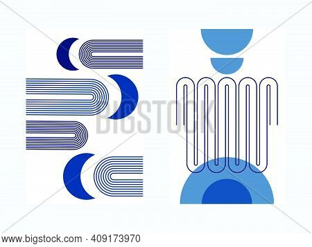 Couple Of Abstract Poster With Boho Arches, With Moons And Semicircles, In Cold Winter Blue Colors,