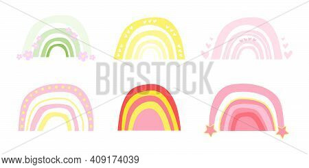Set Of Cute Baby Neutral Colored Rainbows. Boho Rainbows For Children's Cards, Posters For Nursery.