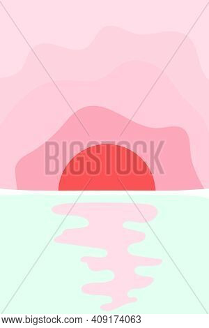 Landscape Poster In Minimalist Style, With A Sunrise Over The Sea, Ocean Or River, Lake. Nature Bann