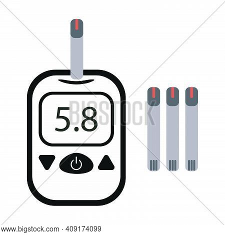 Glucometer Set - Electronic Glucometer And Standard Test Strips. Testing Tool For People With Diabet