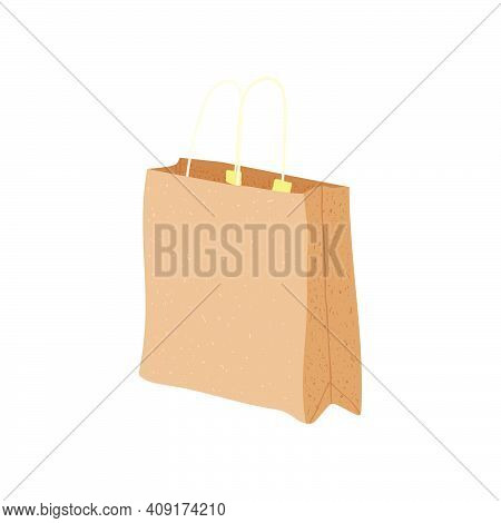 Grocery Paper Bag Vector Illustration Isolated On Background Recycle Brown Paper Bag In Cartoon Flat