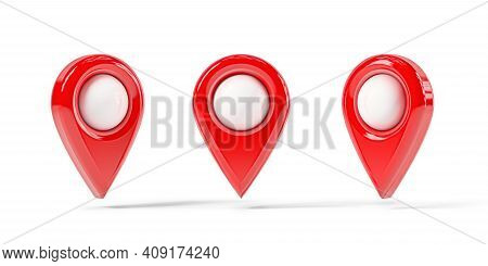 Red Map Point In Different Positions, Location Pin Isolated From The White Background. 3d Rendering