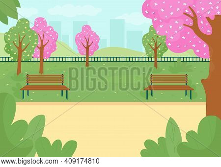 Spring Park Flat Color Vector Illustration. City Street With Blossoming Trees. Blooming Flowers. Pub